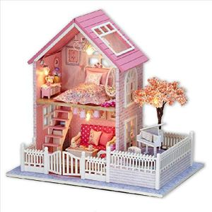 Toy Set DIY Dollhouse Miniature Kit with Furniture Pink Cherry Blossoms Woodedn Dollhouse Kits for Kids Girls Birthday Gift Early education supplies 51OPRgZtZ5L