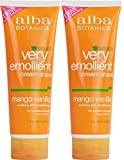 Alba Natural Very Emollient Cream Shave, Mango Vanilla, 8 Ounce (Pack of 2)