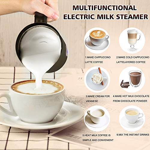 Milk Frother - VIVREAL 3-in-1 Electric Milk Steamer Foam Maker for Latte, Cappuccino, Hot Chocolate, Macchiato, Automatic Milk Frother and Heater w/Hot Cold Functionality, Two Whisks, 4.25 oz/8.5 oz