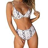 RUUHEE Women Leopard Print High Waisted Cheeky 2 Piece Bikini Bathing Suits (S(US Size 2-4),Gray-2)