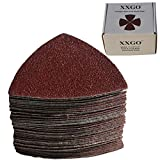 XXGO 55 Pcs Triangle 3-1/8 Inch 80mm 60/80/100/120/240 Grits Oscillating Multi Tool Sanding Paper No.XG5501
