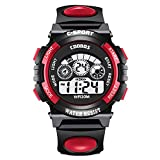 Men's Digital Sports Watch Red Waterproof Tactical Watch with LED Backlight Watch for Men