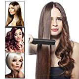 Black Professional Hair Straightener Ceramic Iron, Straightens & Curls with Adjustable Temp Ceramic Tourmaline Ionic Flat Iron Hair Straightener Travel Size Solan 1 Inch Dual Voltage #Black