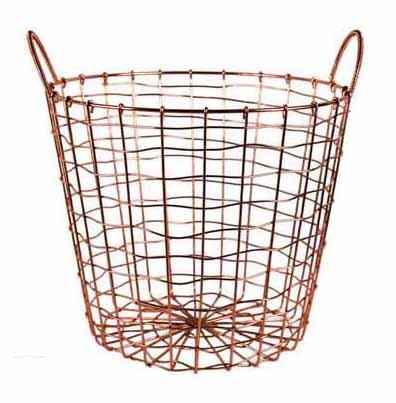 Wire Storage Basket and Waste Bin - Copper Plated Metal Bin with Two Handles for Office, Bedroom, Living Room, Closet and More - by Designstyles
