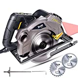 "Circular Saw, TECCPO 7-1/4"" 5500 RPM Saw with Laser Guide, 24T&40T Circular Saw Blades,Lightweight Aluminum Guard and Scale Ruler, TACS01P"
