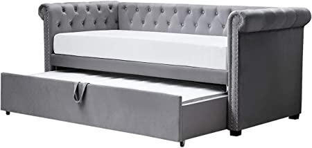 Clarendon Chesterfield Style Grey Velvet Sofa Day Bed With Pull Out Guest Bed Single Size 3ft Amazon Co Uk Kitchen Home