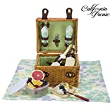 Picnic Basket Set DELUXE | Breeze Collection | 2 Person Wine and Cheese Service Set | Picnic Hamper Set FREE Picnic Tablecloth | Stainless Steel Wine Opener Corkscrew | Wood Cheese Board W/ Knife