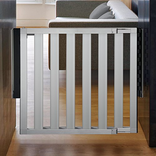 "Munchkin Loft Aluminum Hardware Mount Baby Gate for Stairs, Hallways and Doors, Extends 26.5""- 40"" Wide, Silver, Model MK0012"
