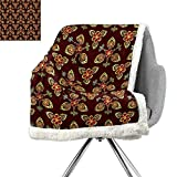 ScottDecor Antique Throw Blanket,Classical Floral Arabesque Artistic Pattern in Vibrant Colors Artsy Image,Gold Chestnut Brown,Soft Premium Cotton Thermal Blanket W59xL31.5 Inch