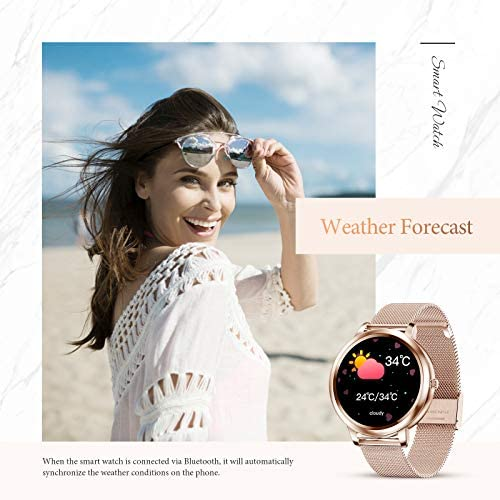 """GOKOO Smart Watch for Women Bluetooth Fitness Tracker with Heart Rate Sleep Blood Pressure Monitor Calories Pedometer Sports Activity Tracker Smartwatchs IP67 Waterproof 1.09"""" Full Touch (Gold) 5"""