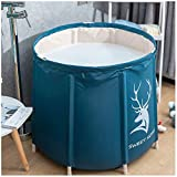 KELIXU Portable Bathtub, Foldable Soaking Bath Tub for Shower Stall, Thickening with Thermal Foam to Keep Temperature, Easy to Install,No inflate,Blue