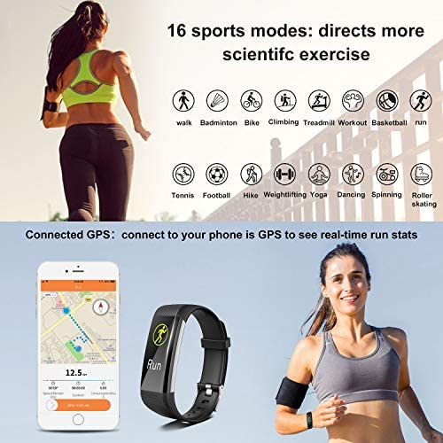 [2020 New Version] Fitness Tracker, Activity Tracker Watch with Heart Rate Monitor, Message Notification,IP68 Waterproof Calorie Counter, Pedometer Watch with Connected GPS for Android & iPhone 3