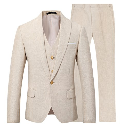 YUNCLOS Mens 3 Piece Linen Suit Set Blazer Jacket Tux Vest Suit ...