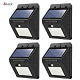 Solar Lights Outdoor,30 LED Wireless Waterproof Security Solar Motion Sensor Lights,for Outdoor Patio, Garden, Deck, Yard, Drive, Outside Wall, Fence etc (4 Pack)