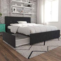 Novogratz Kelly Upholstered Storage Platform Bed – Queen (Dark Gray Linen)