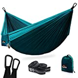 AnorTrek Camping Hammock, Super Lightweight Portable Parachute Hammock with Two Tree Straps (Each Two Loops), Single & Double Nylon Hammock for Camping Backpacking Travel Hiking (Blue&Dark Blue)