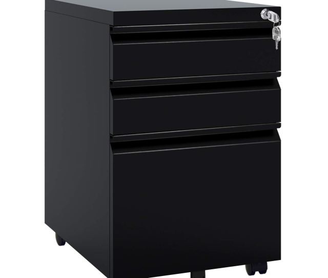 Amazon Com Devaise Locking File Cabinet 3 Drawer Rolling Metal Filing Cabinet Fully Assembled Except Wheels Black Office Products