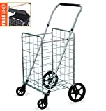 Wellmax Grocery Shopping Cart with Swivel Wheels – Foldable & Collapsible Utility Cart with Adjustable Height Handle – Space Saving Heavy Duty Light Weight Trolley
