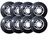 Player's Choice Inline Skate Wheels Hilo Set 72mm 76mm 80mm 82A Black Outdoor Hockey Roller Hockey