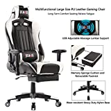 High Back Ergonomic Gaming Chairs PC Gaming Chair Computer Racing Chair Office Chair Desk Chair Video Gaming Chair Swivel Executive Leather Chair with Lumbar Support and Headrest (White)