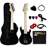 Stedman Pro 30' Kids Electric Guitar Pack With 5-Watt Amp, Gig Bag,Strap,Cable,Strings,Picks,and Wrench,Guitar Combo Accessory Kit--Black