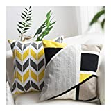 LANANAS Throw Pillow Covers Modern Decorative Geometric Home Cushion Cover for Couch Sofa Bed 18 Inch Set of 2 (18' x 18', Grey-Yellow) ... (18'x18', Black-Yellow)