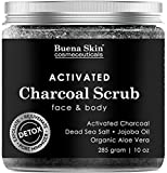 Premium Activated Charcoal Scrub | Deep Cleanser, Pore Minimizer & Reduces Wrinkles, Blackheads, Acne Scars, Anti Cellulite Treatment - Great for Face & Body by Buena Skin 10 oz.