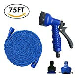 BRIGADA Best Expandable Waterworks Garden Hoses 75Ft Extra Strong 3/4' Solid Fittings 100% Flexible No-Rust & Leak 7 Function Spray Nozzle Extra Strength Fabric Protection for Car Pets wash