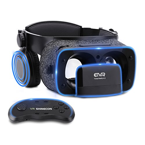 Ultralight Virtual Reality Headset with Stereo Headphones, 3D VR Glasses for VR games & 3D Movies, Comfortable & Immersive Experience VR Goggles for 4.7 - 6 inch IOS/Android Smartphones