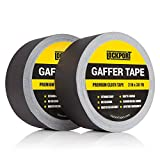 Black Gaffers Tape - 2 Pack - 30 Yards & 2 inch Wide - 2 roll Bulk Set Refills case. Multi-Pack Waterproof Gaffer Matte Cloth Fabric for pro Photography, Filming Backdrop, Production Equipment