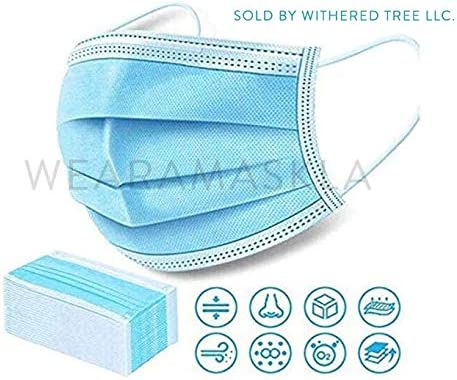 Disposable Face Masks – Pack of 50 Single Use Protecting Masks With Three Ply Layers of Shielding, Ear Loop Model