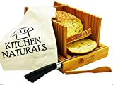 Premium Bamboo Foldable Bread Slicer - Built in Crumb Catcher and Knife Rest |Bread Slicing Guide, Bread Loaf Slicer- BONUS Bamboo Butter Spreader, Storage Bag and Guide Book.