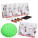 Moldes Para Gelatin Silicon Jelly and Cake Molds 3D DIY with Stainless Steel Jelly Art Tools 5-Set (50 Pcs)- Complete Sets with Syringe and Storage Bag - Easy to Use - (Green)