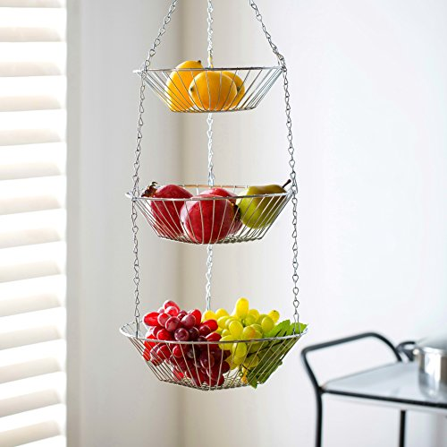 Deppon Wire Hanging Fruit Basket 3-Tiered Detachable Heavy Duty Kep for Home Kitchen