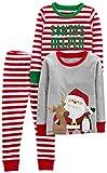 Simple Joys by Carter's Boys' Little Kid 3-Piece Snug-Fit Cotton Christmas Pajama Set, Red/White Stripe/Santa, 6