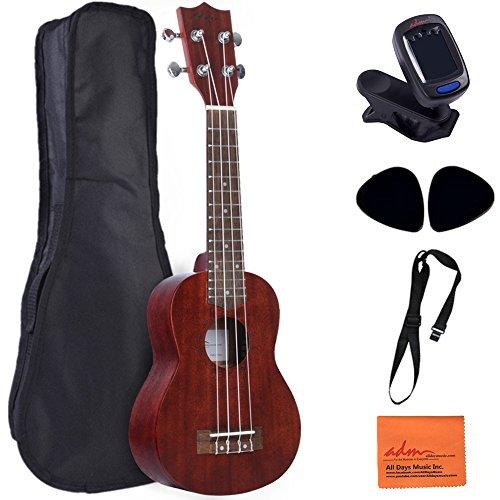 ADM Ukulele 21 Inch Soprano Mahogany Wood Beginner Kit with Gig Bag, E-tuner, Strap and Picks