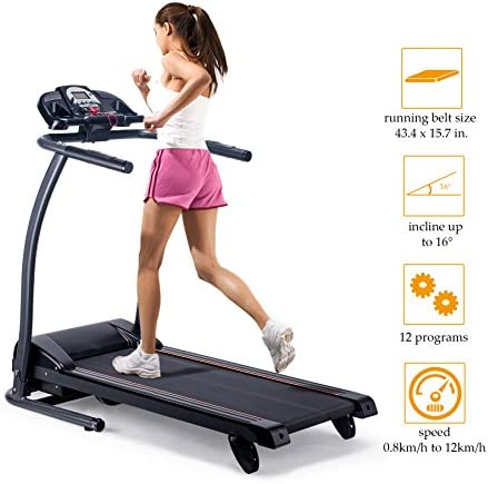 Pinty Folding Quiet Electric Treadmill Incline Motorized Running Machine for Home with LED Display, MP3 Player, Heart Rates Monitoring, Emergency Stop, Miles Track, 300Lb. Load Capacity 8