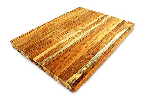 Terra Teak Cutting Board - Extra Large Wood Board 24 x 18 x 1.5 Inch