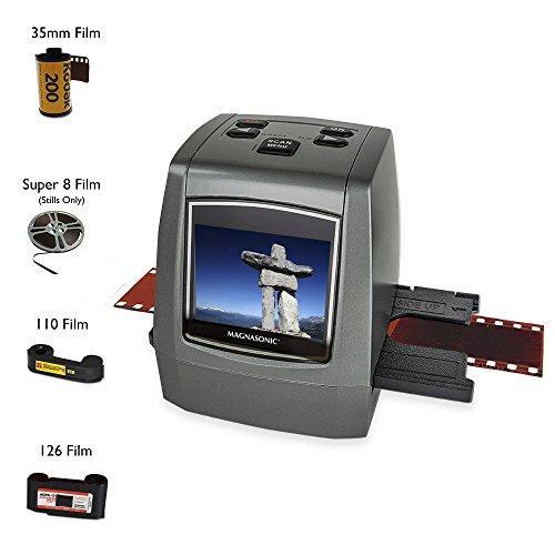 Magnasonic All-In-One High Resolution 22MP Film Scanner, Converts 126KPK/135/110/Super 8 Films, Slides, Negatives into Digital Photos, Vibrant 2.4' LCD Screen, Impressive 128MB Built-In Memory