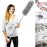 Microfiber Duster with Telescoping Extension Pole (30 to 100 inches) Non-Scratch, Bendable, Washable, Hypoallergenic, Lint Free Dusters for Cleaning Ceiling Fan, Blinds, Cobwebs, Baseboards