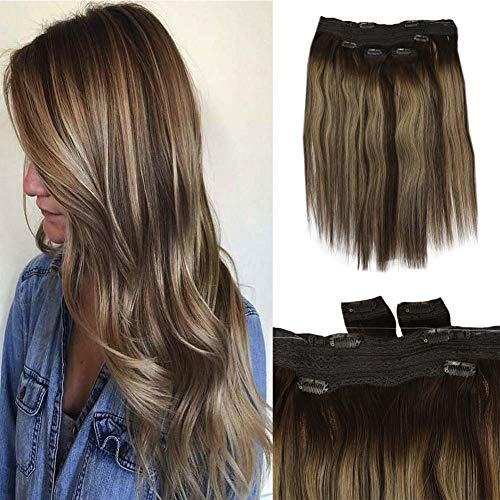 Full Shine Ombre Extenciones De Clip 100% Humanas Lace Clip In Hair With Invisible Halo Remy Loop Lair Fish Wire 18 Inch