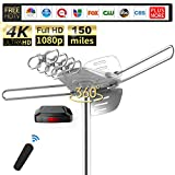 TV Antenna - 150 Miles Range Outdoor Motorized 360 Degrees Amplified HDTV Antenna for 2 TVs Support - UHF/VHF 4K 1080P Channels Wireless Remote Control - 39FT Coax Cable