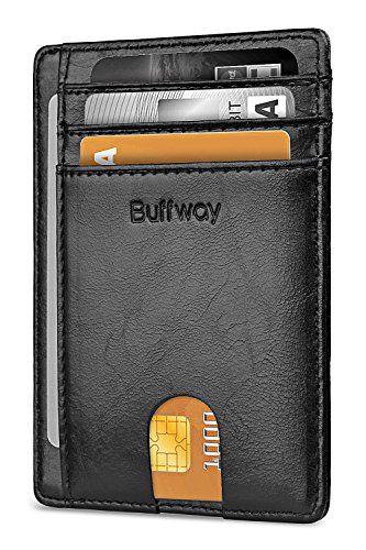 Slim Minimalist Leather Wallets for Men...
