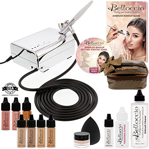 Belloccio Professional Beauty Airbrush Cosmetic Makeup System with 4 Medium Shades of Foundation in 1/4 Ounce Bottles - Kit Includes Blush, Bronzer and Highlighter and 3 Bonus Items and a Video