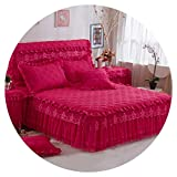 Bedding Set Princess Style Thick Cotton Bedspreads and Pillowcases Single Queen King Size Bed Cover for Girl Room Decorative,Rose red,180x220 A Pillowcase