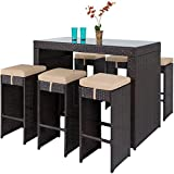 Best Choice Products 7-Piece Outdoor Rattan Wicker Bar Dining Patio Furniture Set with Glass Table Top and 6...