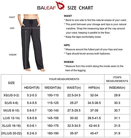 BALEAF Women's Cotton Leisure Drawstring Yoga Sweatpants Straight Bottom Leg Lounge Walking Wide Pajamas Pocketed 7