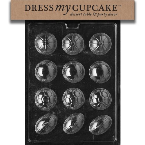 Dress My Cupcake Chocolate Candy Mold, Ball Assorted Baseball/Soccer/Football, Sports