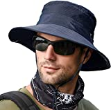 LCZTN Boonie Sun Hat for Men & Womens Wide Brim Bucket Hat with UV Protection UPF 50+ Outdoor Military Cap for Fishing,Hiking,Hunting,Safari & Gardening (Mesh Navy Blue)