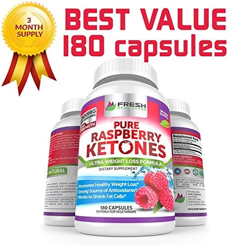 Pure 100% Raspberry Ketones Max 1000mg Per Serving - 3 Month Supply - Powerful Weight Loss Supplement - Provides Energy Boost for Weight Loss - 180 Capsules by Fresh Healthcare 5